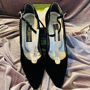 Stuart Weitzman Black Velvet/Studded T-Strap Heels